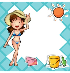 A girl wearing a bikini with a hat vector