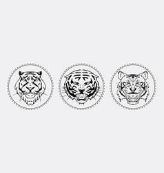 Tiger muzzle emblem set vector