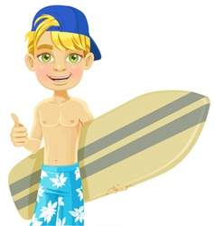 Cute teen boy with a surfboard vector