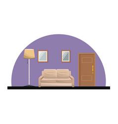 Living room sofa mirror floor lamp door entry vector