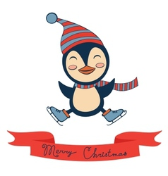 Christmas card with cute little penguin vector
