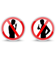 Signs prohibiting smoking and drinking alcohol vector