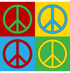 Pop art peace icons vector