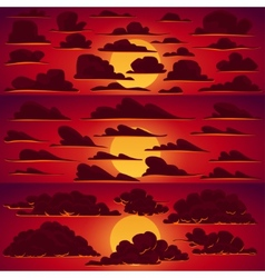 Collection of cartoon clouds in sunset vector