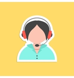 Girl call center avatar sticker vector