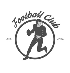 Design of white football label with player vector