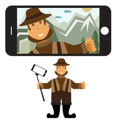 Concept flat design with fisher and selfie stick vector