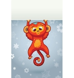 New year vertical banner with red monkey for year vector