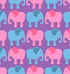 Elephants seamless pattern blue and pink animals vector