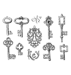 Sketch vintage key vector