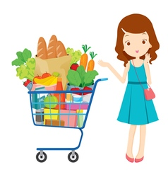Girl and shopping cart full of eating vector