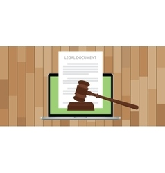 Legal document with gavel and laptop vector