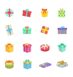 Set of gifts boxes design flat vector