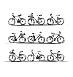 Bicycle collection sketch for your design vector image