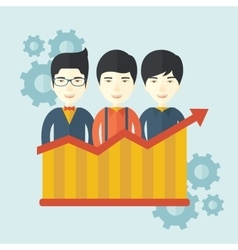 Businessmen standing infront of growing graph vector image