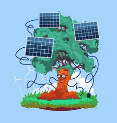 Cartoon smiling tree with solar panels renewable vector