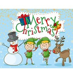 Christmas elf and snowman vector image vector image