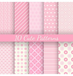 Cute different seamless patterns pink and white vector