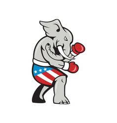 Elephant mascot boxer boxing side cartoon vector