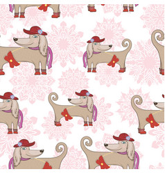 fashion dog pattern vector image