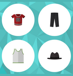 Flat icon dress set of t-shirt singlet pants and vector