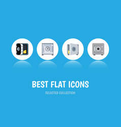 flat icon strongbox set of locked strongbox vector image