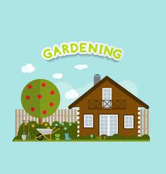 Gardening flat background vector