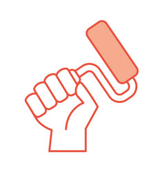 hand human with paint roller isolated icon vector image