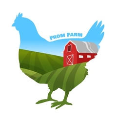 Hen with farm background inside Concept of fresh vector image