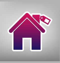 Home silhouette with tag purple gradient vector