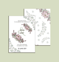 Invitation with flowers of lotus modern vector
