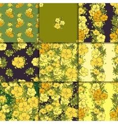 Nine seamless floral patterns vector image vector image