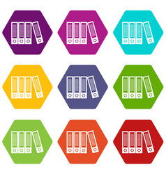 Office folders icon set color hexahedron vector