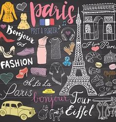 Paris doodles elements Hand drawn set with eiffel vector image vector image