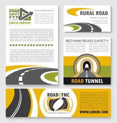 Road poster banner and flyer template set vector