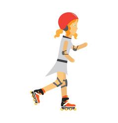roller skater girl in flat design vector image