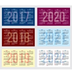 set of calendar grid for years 2017-2022 vector image