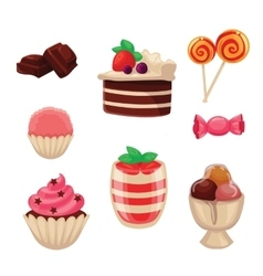Set of sweets cakes cupcakes candy chocolate vector image vector image