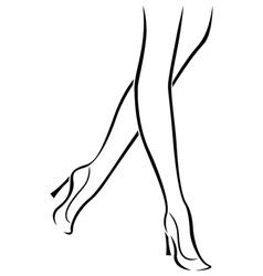 Slender female feet in shoes vector