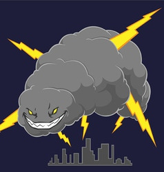 Storm cloud attacking a city vector