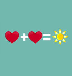 Successful relationship two hearts and a sun vector