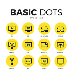 tv flat icons set vector image vector image