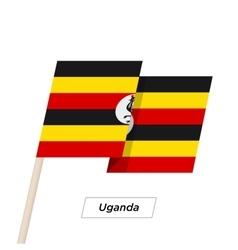Uganda ribbon waving flag isolated on white vector