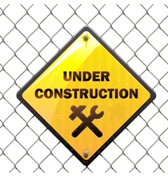 Under Construction Sign with Mesh vector image vector image