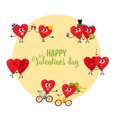 Valentine day greeting card with couples of loving vector