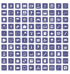 100 information icons set grunge sapphire vector