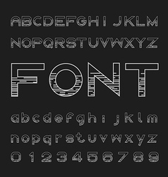 Line font family design and letters and numbers vector