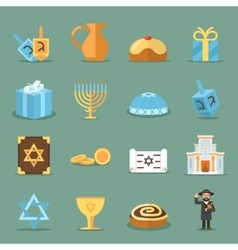 Jewish flat icons israel and judaism vector