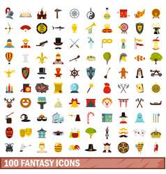 100 fantasy icons set flat style vector