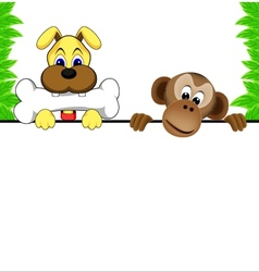 Dog and monkey vector